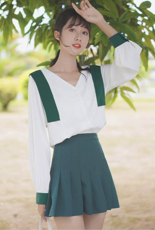 V-Neck Green Accent Blouse