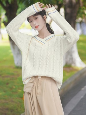 V-Neck Twisted Knots Knit Sweater (5)