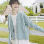 Wavy Edges Knit Blue Cardigan Wavy Edges Knit Blue Cardigan