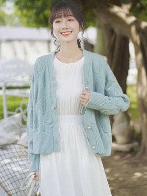 Wavy Edges Knit Blue Cardigan (5)