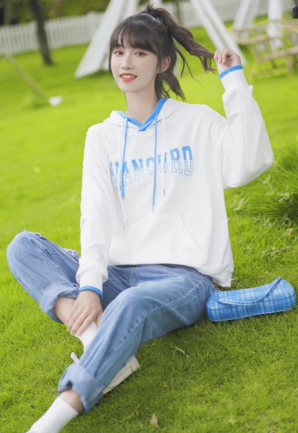 White And Light Blue Mix Hoodie