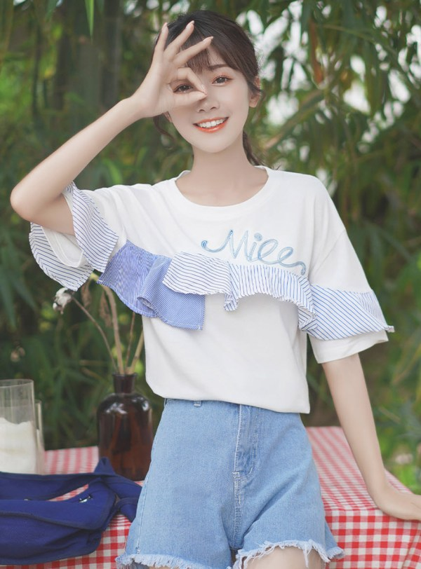 White T-Shirt With Blue Striped Ruffles