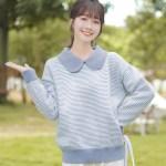 Wide Collar Blue Striped Sweater