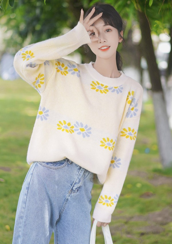Yellow And Blue Flowers Apricot Sweater