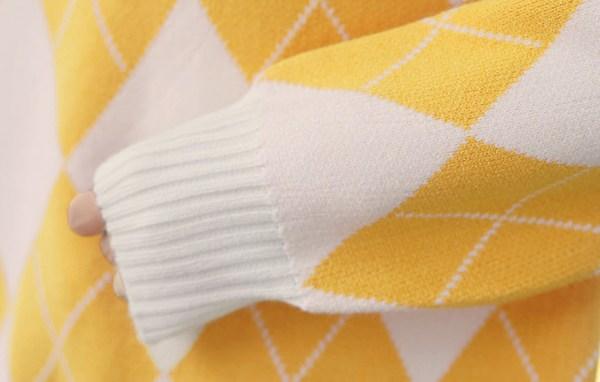 Yellow Orange Diamond Pattern Sweater