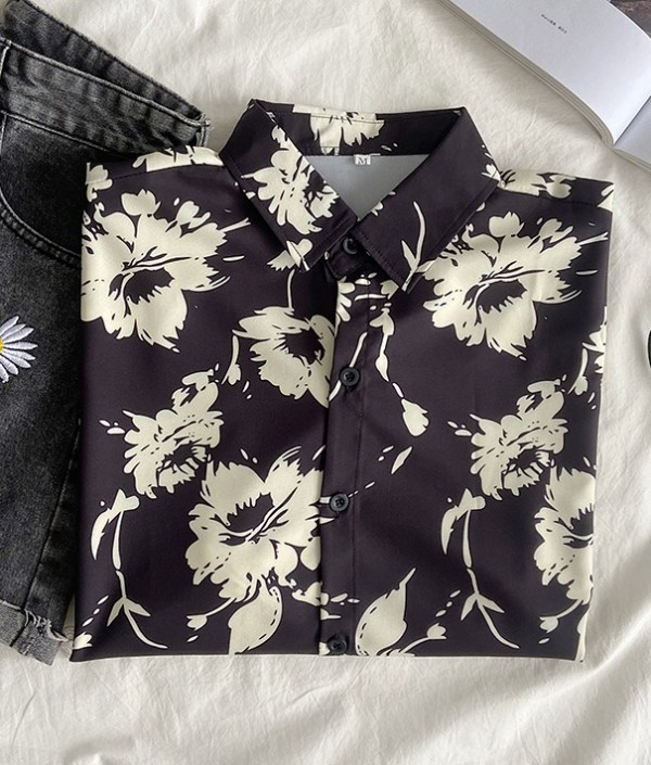 Black Long Sleeve Floral Shirt | Yunhyeong – iKON