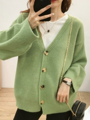 Ahn Jeong‑Ha – Record Of Youth Green Knitted Cardigan (10)