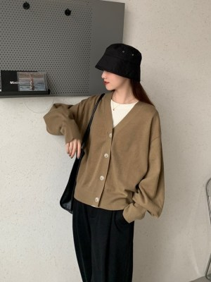 An Jeong‑Ha – Record Of Youth Khaki Knitted Cardigan (13)