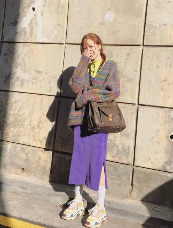 Purple Corduroy Dress | Hyuna