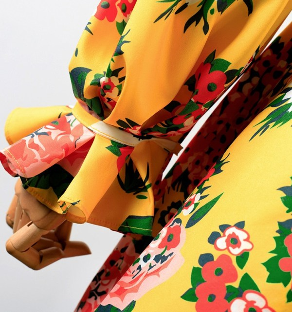 Yellow Wrapped Chest Floral Dress | Hyuna