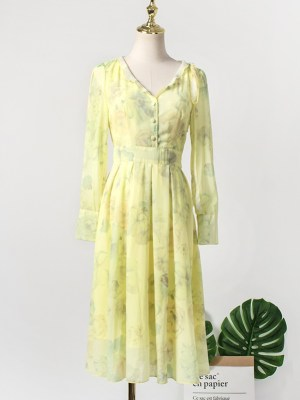 IU – Hotel Del Luna Yellow Chiffon Dress (9)