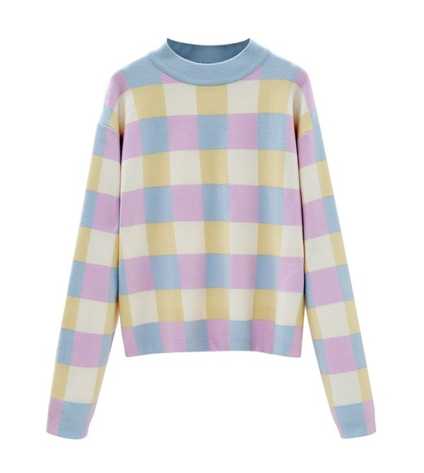 Pastel-Colored Checkerboard Sweater | Jennie – BlackPink