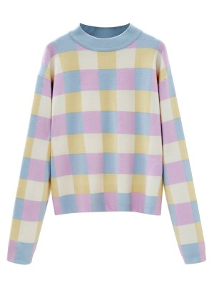 Jennie – BlackPink Pastel-Colored Checkerboard Sweater (10)