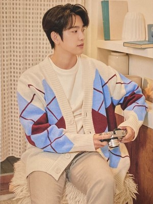 Oversized V-Neck Cardigan With Argyle Pattern | Jinyoung – GOT7