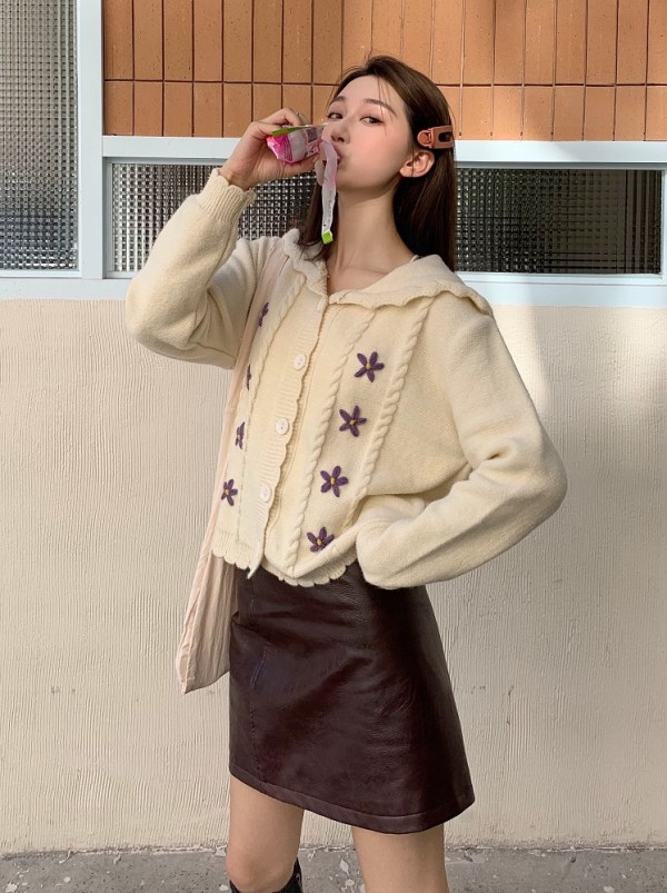 Beige Sailor Cardigan | Jisoo – BlackPink