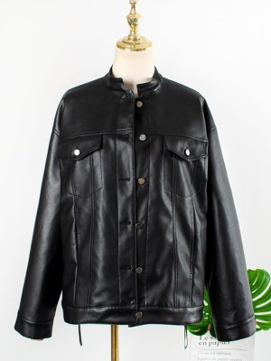 Jo Yi So – Itaewon Class Black Leather Jacket With Bandana Print (12)