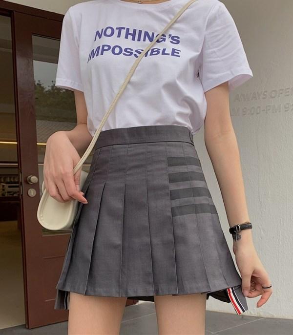 Grey Pleated Asymmetrical Skirt | Joy – Red Velvet