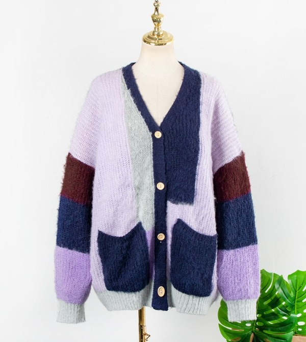 Knitted Colorblock Cardigan | Won Hae-Hyo – Record Of Youth