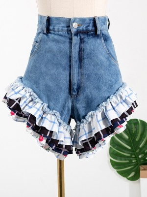 Rose – BlackPink Denim Ruffled Hem Shorts (1)