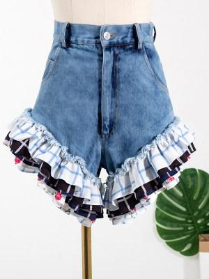 Rose – BlackPink Denim Ruffled Hem Shorts (1)