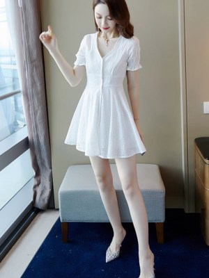 White V-neck Mini Dress Yeojin (2)