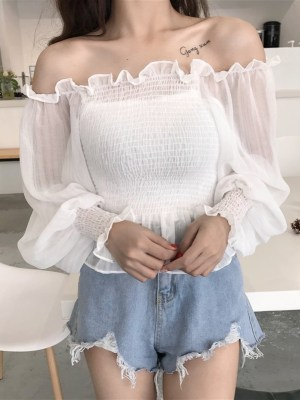 Yeojin – Loona White Shirred Chiffon Top (6)