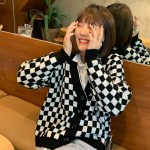 Black And White Checkerboard Cardigan | Yugyeom – GOT7