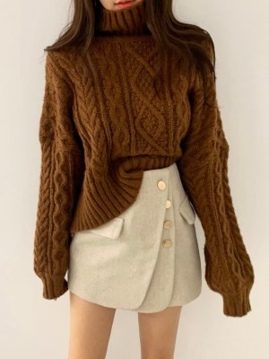 Dahyun – Twice Brown Knitted Turtleneck Sweater (8)