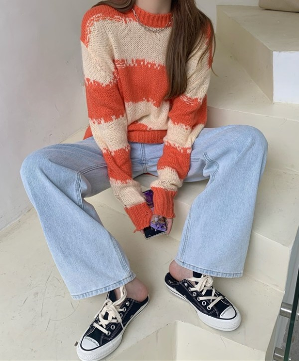 Distressed Sweater With Stripe Pattern  | Jisoo -BlackPink