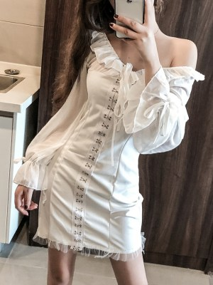 Jennie – BlackPink White Hook Dress (9)