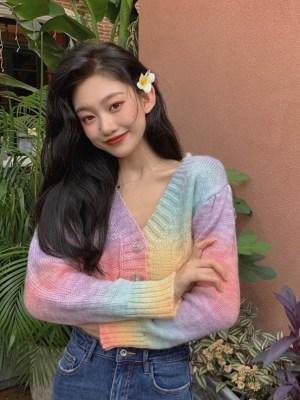 Jisoo -BlackPink Rainbow Dye Cropped Cardigan (13)