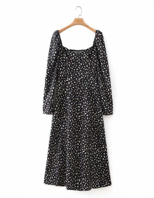 Black Puffed Sleeve Slit Dress | Mina -Twice