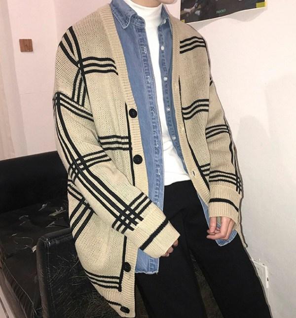 Plaid Knitted Cardigan | Mingyu – Seventeen
