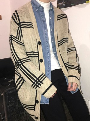Mingyu – Seventeen Plaid Knitted Cardigan (28)