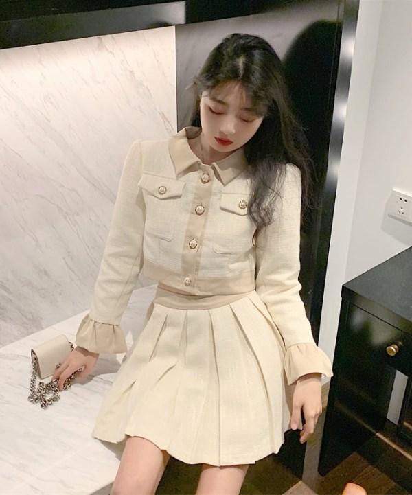 Beige Pleated Skirt | Rose – BlackPink