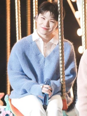 Blue Knit V-Neck Sweater | Woozi – Seventeen