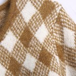 Brown and White Check Patterned Cardigan | Jennie – BlackPink