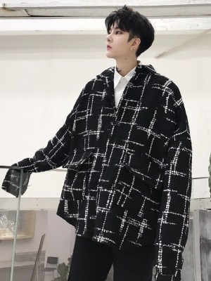 LeeKnow – Stray Kids Black Plaid Patterned Shirt (9)