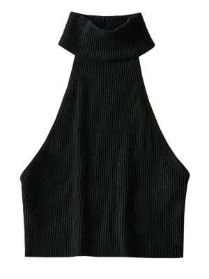 Lisa – BlackPink Black Open-Back Turtle Neck Top (8)