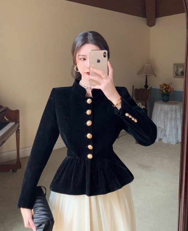 Black Velvet Jacket With Gold Buttons | Lisa – BlackPink
