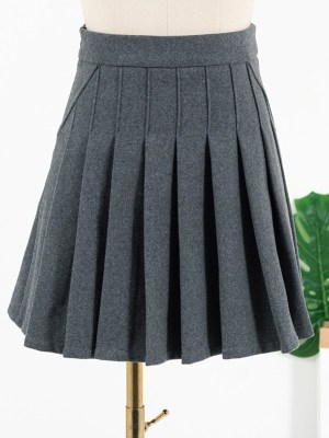 Lisa Grey Pleated School Style Skirt (2)