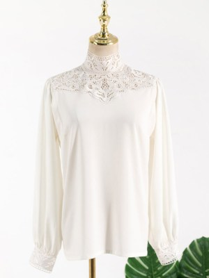 Lisa White Lace Neckline Blouse (2)