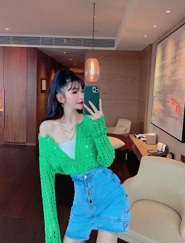 Green Punched Holes Cardigan   Moonbyul – Mamamoo