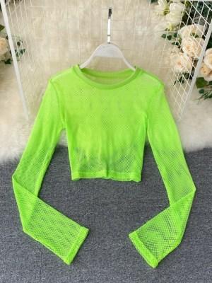 Ningning – Aespa Neon Green Mesh Top (20)
