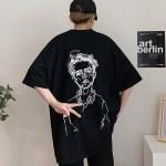 Black Oversized T-Shirt With Man Sketch Print | Taehyung- BTS