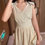 Sparkling Beige Dress With Bow | Tzuyu – Twice