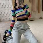 Rainbow Striped Sweater | Wheein – Mamamoo