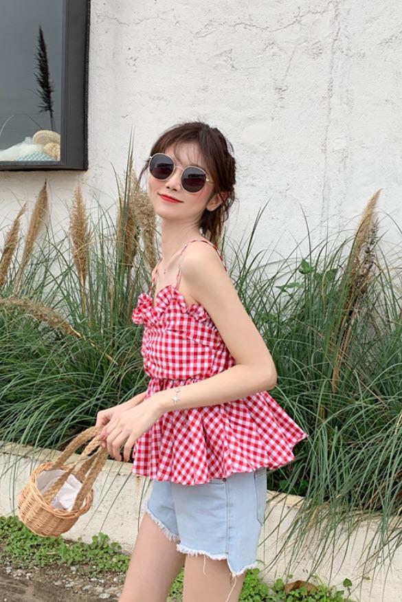 Sleeveless Red Checkered Top | Dahyun – Twice