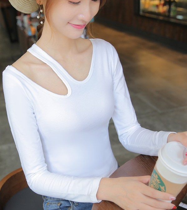 White Cut-Out Long Sleeve  T-Shirt   Dahyun – Twice
