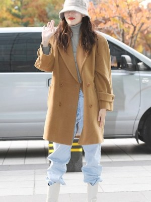 Double Breasted Woolen Khaki Coat | Hyuna